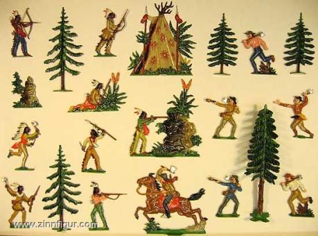 Indianer und Siedler im Kampf