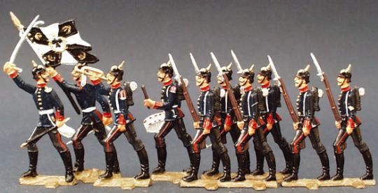 Preußische Pickelhauben-Soldaten im Vorgehen