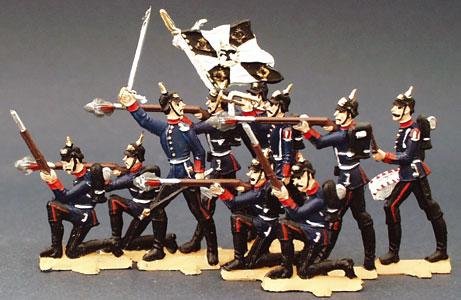 Preußische Pickelhauben-Soldaten im Feuer