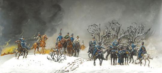 Eylau: Napoleonischer Stab zu Pferd, im Mantel
