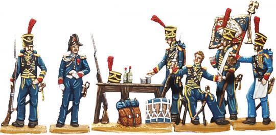 Französische Marins de la Garde vor einer Taverne zechend (um 1806)