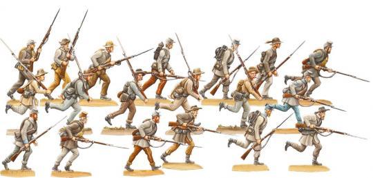 Südstaaten: Konföderierte Infanterie im Gefechtsmarsch um 1862 -Südstaaten-