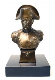 Metal bust Napoleon, with marble base