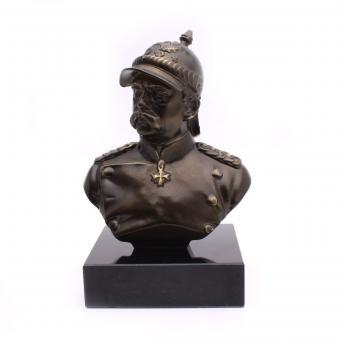 Metal bust Bismarck with marble base