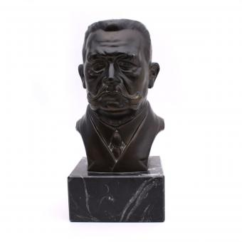 Metal bust Hindenburg with marble base