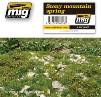 Geländematte felsige Berglandschaft - Frühling