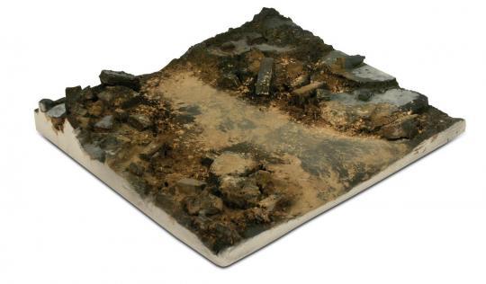 Trümmer-Straßenabschnitt, 14 x 14 cm
