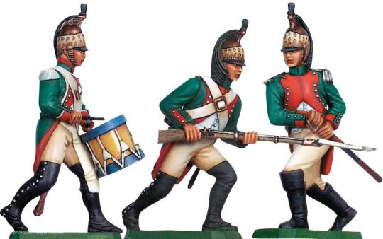 Dragoner zu Fuß, Offizier, Trommler und Mann, Kaisergarde 1805