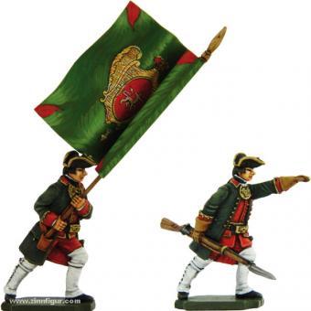Russische Infanterie: Offizier und Fahnenträger, mit Jacke, vorgehend