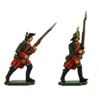 Russische Infanterie: Musketier und Grenadier, mit Jacke, vorgehend