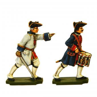 Französische Infanterie: Offizier und Trommler vorgehend