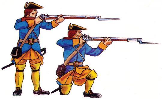Zwei Musketiere, schießend