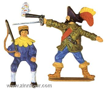 Fuhrknecht (Aufsitzer für ein Pferd) und Musketier