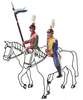 Zwei Ulanen (Aufsitzer, Reiter): Offizier und Mann