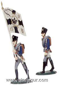 Offizier zu Fuß und Fahnenträger vorgehend