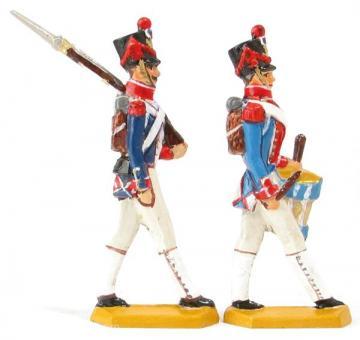 Infanterist, vorrückend und Trommler