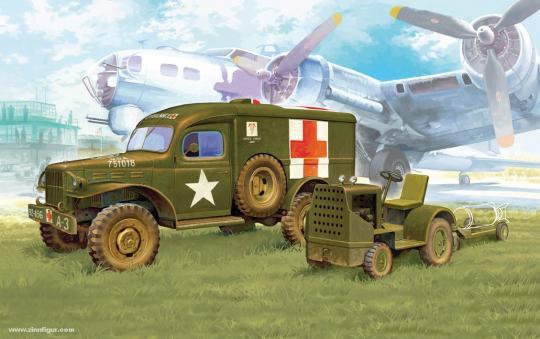 Dodge Ambulanzwagen und Bomben-Traktor