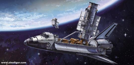 Hubble Space Teleskop & Space Shuttle Orbiter mit Astronauten