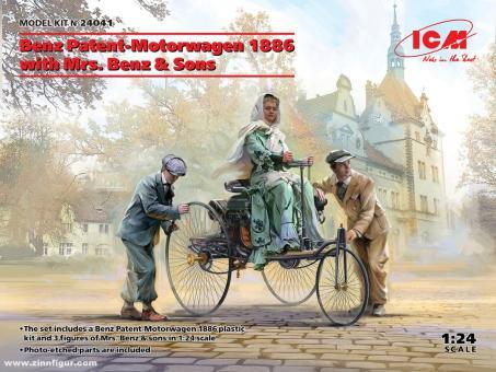 Benz Patent-Motorwagen 1886 mit Frau Benz und Söhnen
