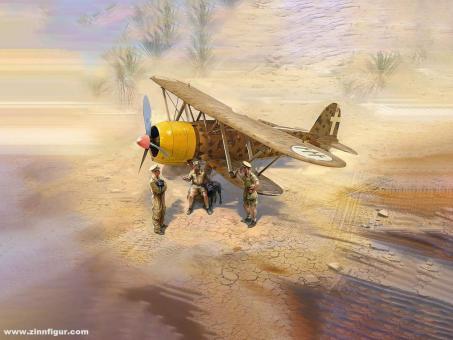 CR.42 Falco mit Piloten in Tropenuniform