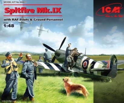 Spitfire Mk.IX mit Pilot und Bodenpersonal