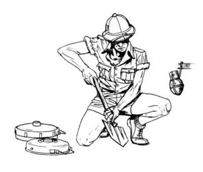 Afrika Korps Pionier beim Minenlegen