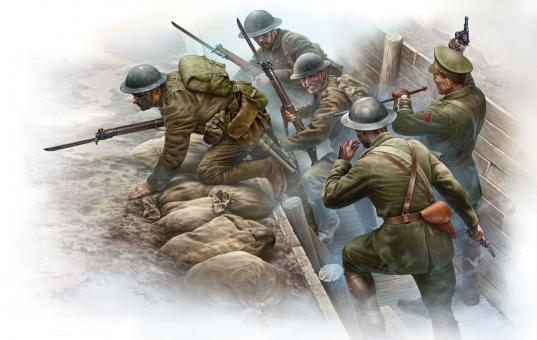 Britische Infanterie vor dem Angriff - 1. Weltkrieg