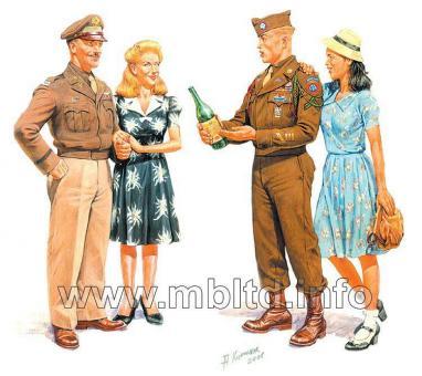 2 US Offiziere mit 2 Mädchen