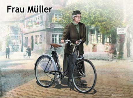 Frau Müller mit Fahrrad