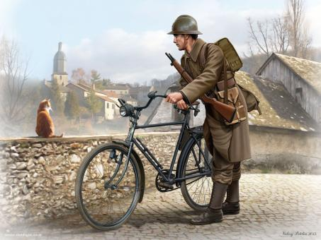 Französischer Soldat mit Fahrrad