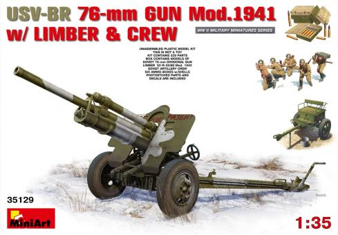 76,2 mm Geschütz ZiS-3 mit Bedienung