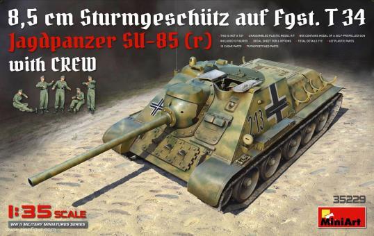Jagdpanzer SU-85 (r) mit Figuren - 8,5 cm Sturmgeschütz auf Fgst. T34