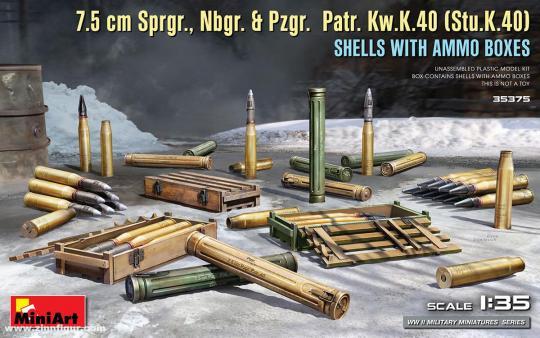 Munition & Kisten - 7,5cm Sprgr., Nbgr. & Pzgr., Patr.Kw.K40 (Stu.K.40)