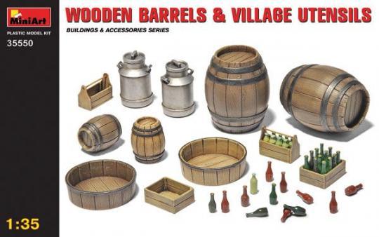 Holzfässer und Dorfzubehör