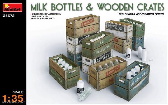 Milchflaschen und Holzkisten