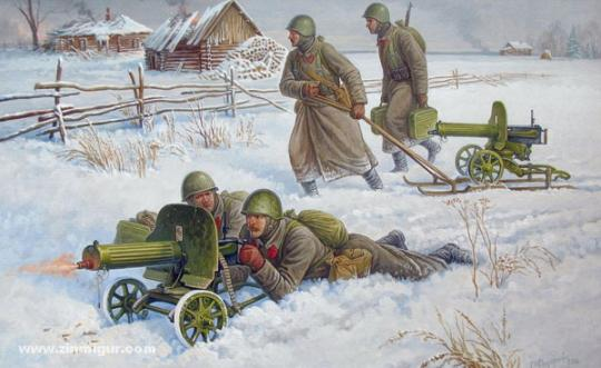 Soviet MG with Crew (Winter) Wargame Add-On