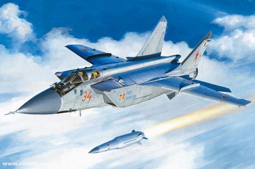 MiG-31BM mit KH-47M2 Hyperschall-Luft-Boden-Rakete