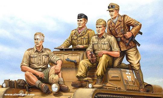 Deutsche Panzerbesatzung in Tropenuniform
