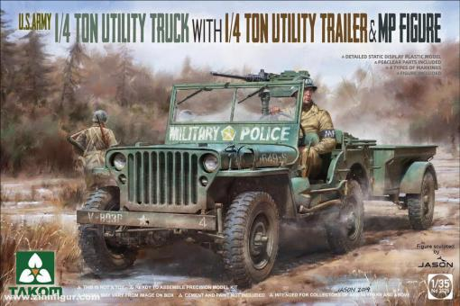 Willys Jeep 1/4 ton Utility Truck with 1/4 ton Utiliy Trailer and MP-Figur