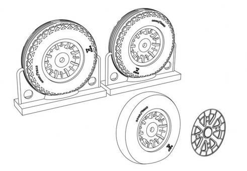 F4U Corsair Ribbed/Diamond Thread Wheels set