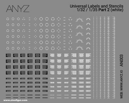 Universal Labels & Stencils (1:32 und 1:35) - Weiß - Teil 2