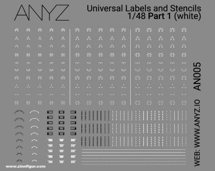 Universal Labels & Stencils (1:48) - Weiß - Teil 1