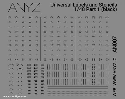 Universal Labels & Stencils (1:48) - Schwarz - Teil 1