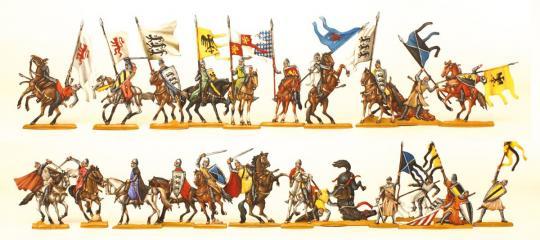 Ritter zu Pferd und abgesessen im Kampf