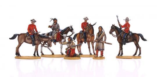 Kanadische Mounties auf Patrouille um 1880