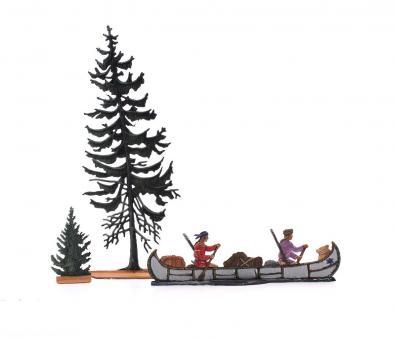 Indianer und Trapper in einem Kanu
