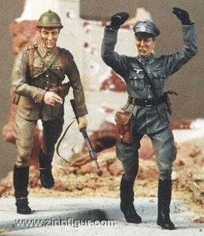 Kavallerist mit gefangenem deutschen Soldaten