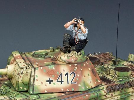 Sky-Watching Panzer Crewman