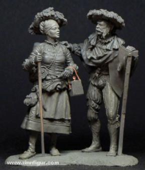 Marktfrau und Landsknecht