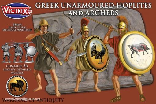 Griechische ungepanzerte Hopliten und Bogenschützen